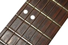 Guitar neck. With six strings Stock Images