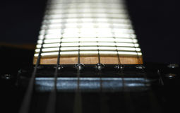 Guitar Neck. Macro of guitar neck & frets with minimal d.o.f Stock Photos
