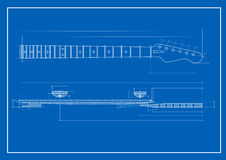 Guitar neck blueprint. Vector illustration of guitar neck blueprint Stock Images