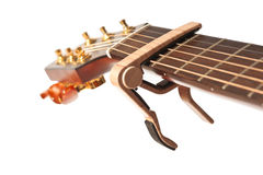 Guitar neck with capo Stock Image