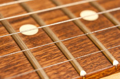 Guitar neck closeup Royalty Free Stock Photos