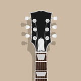 Guitar neck. Head with shadow, flat style illustration, rock, blues concept Stock Photos