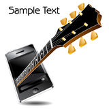 Guitar neck and media player Stock Photos