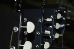 Guitar neck and strings. Close up royalty free stock photography