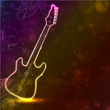 Guitar with neon lights. Stock Images