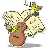 Guitar, notation and birds Stock Photo