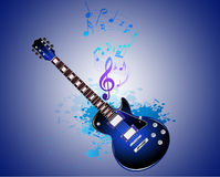 The guitar and note in the Splash Vector. Backround Stock Photos