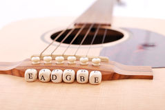 Guitar Notes. Placed By Strings For Lessons Stock Images