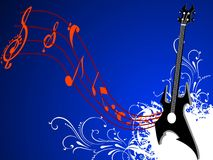 Guitar with notes Royalty Free Stock Images