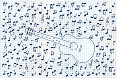Guitar and notes Royalty Free Stock Photography