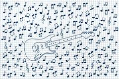 Guitar and notes Stock Photos