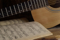 Guitar and notes Royalty Free Stock Photo