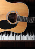 Guitar on old piano keys Royalty Free Stock Photography