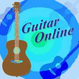 Guitar Online Means Web Site And Network Stock Photos