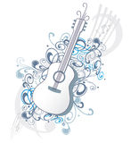 Guitar with ornaments and music notes Royalty Free Stock Photography