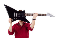 Guitar over face Royalty Free Stock Photos
