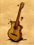Guitar Painting Image. Music background Royalty Free Stock Photo