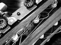 Guitar parts black and white close up. Picture Stock Images