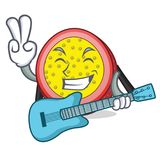 With guitar passion fruit mascot cartoon. Vector illustration Royalty Free Stock Image