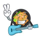 With guitar pat thai in the cartoon shape. Vector illustration royalty free illustration