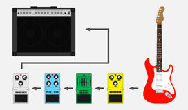 Guitar pedals chain Stock Photo