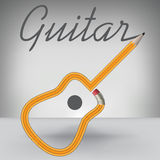 A Guitar Pencil Writes its Own Name Royalty Free Stock Photo