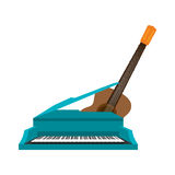 guitar and piano instrument isolated icon Stock Image
