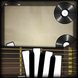 Guitar and piano keys. Vector illustration of musical background neck of the guitar and the piano keys as fingers on a background old paper vinyl records. There Royalty Free Stock Image