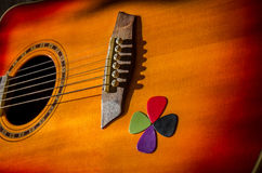 Guitar with picks Stock Images