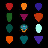 Guitar picks. Different types of musical plectrum Stock Photo