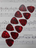 Guitar picks parallel aligned Royalty Free Stock Images