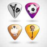 Guitar picks or plectrums with custom designs Stock Photography