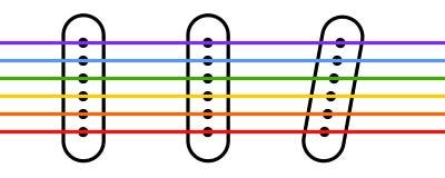 Guitar pickups. An illustration of rainbow chords Stock Illustration
