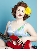 Guitar Pinup Girl Stock Image