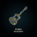 Guitar - pixel illustration. Guitar - pixel icon. Vector Illustration. Design logo element. Isolated on black background. It is easy to change to any color Stock Illustration