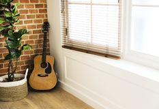 Guitar and plant pot in living room Royalty Free Stock Image