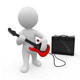 Guitar player. 3D human playing guitar. He definitly rocks Royalty Free Stock Photography