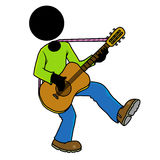 Guitar player. Silhouette-man musician playing guitar Royalty Free Stock Images