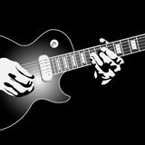Guitar player. Vector illustration.Black and white Royalty Free Stock Photo