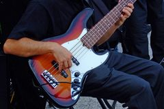 Guitar player. Some shots of musical Instruments taken during a jazz band performance Stock Image