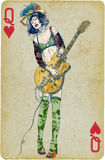Guitar player. Mixed media - a hand drawn illustration with guitar player in front of playing card Stock Photo