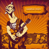 Guitar player. Vector illustration with vigorous guitar player in grunge style. CD cover Stock Photos