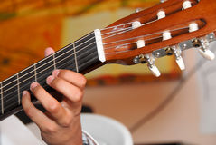 Guitar player. A close up of a guitar player Royalty Free Stock Images
