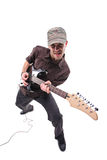 Guitar player. Isolated against white background stock photo