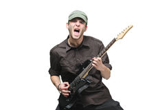 Guitar player. Isolated against white background royalty free stock photography