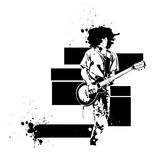 Guitar player. Vector guitar black player on a white background Royalty Free Stock Photos