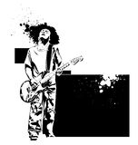 Guitar player. Vector guitar black player on a white background Royalty Free Stock Image