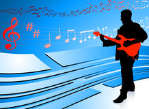 Guitar Player on Abstract Blue Background Royalty Free Stock Image