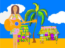 Guitar Player on a Beach. A serenader or welcomer. Stock Images