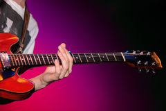 The guitar player of The Black Box Revelation (band) performs at Discotheque Razzmatazz Royalty Free Stock Photography